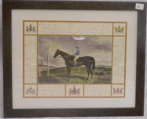 Tavla derbyhäst inglasad i träram mått 56 x45 cm.