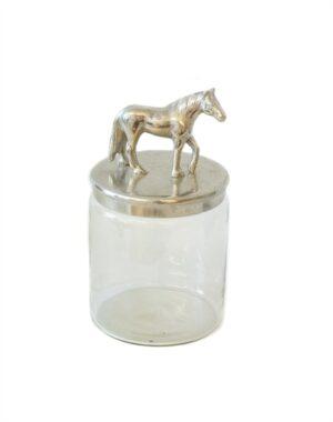 Förvaringsburk med silver häst
